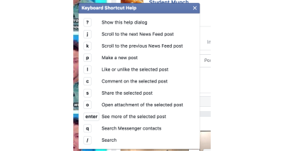 Keyboard shortcuts for scrolling between news feed items, making new posts, etc.