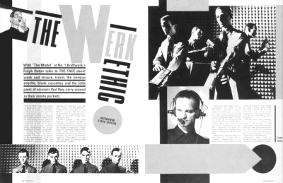 The Werk Ethic. The Face 1982. Art direction by Neville Brody. This spread is reminiscent of Constructivism in the arrangement of images and text.