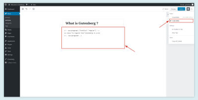 The text editor in Gutenberg