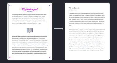 A overly decorated book report with scripted letters and colorful borders contrasted by a book report using Times New Roman and black text
