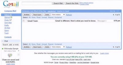 screenshot of how Gmail looked in 2003