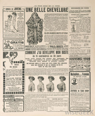 Newspaper page with advertisement, Paris, France, 1919.