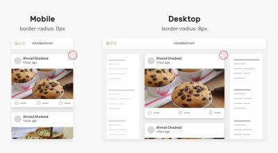 A comparison of how the same page looks like on mobile and desktop with border radius 0px and 8px