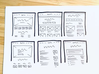 Multiple versions of a homepage layout.