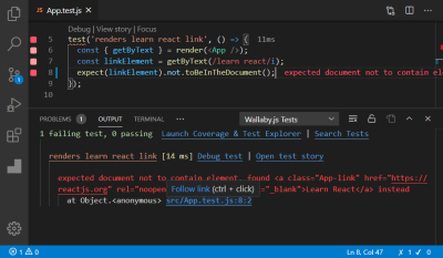 A screenshot of the App.test.js file open in an editor with the Wallaby.js Tests indicator tab open
