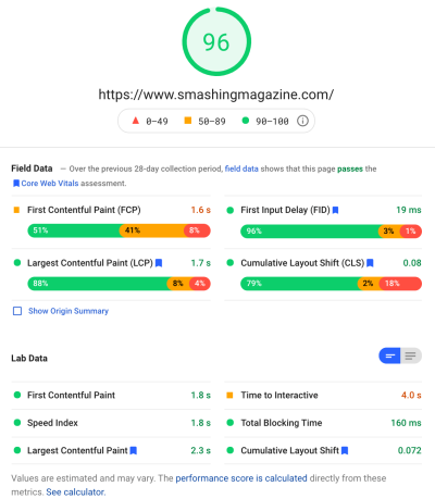 PageSpeed Insights audit for the Smashing Magazine website scoring 96 and passing Core Web Vitals.