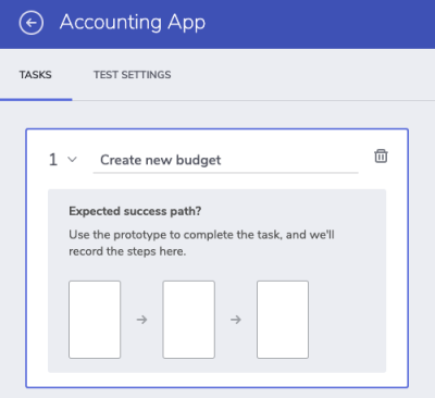 """New task """"Create new budget"""" for usability test"""