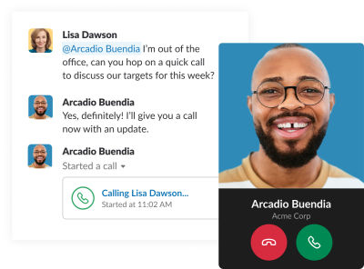 A screenshot of a chat window in Slack showing theprofile picture of the person calling along with their user name, company name, and two large bold buttons with the telephone icon on both: red button to decline call and green one to accept the call via Slack