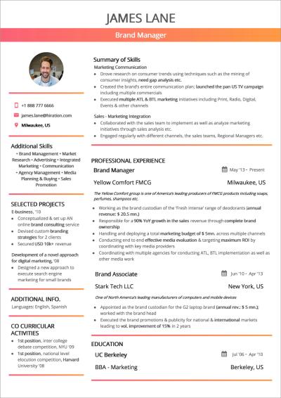 Combination résumé with Summary of Skills