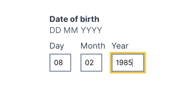 Date of birth input field example