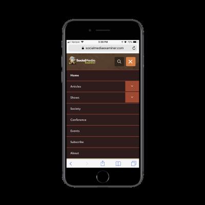 Social Media Examiner mobile navigation