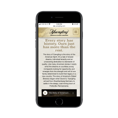 Yuengling mobile site story