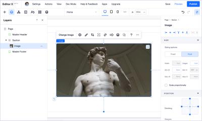 A screenshot of Editor X in edit mode