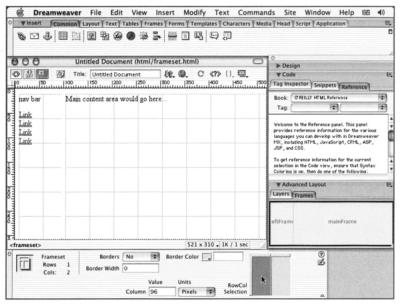 A screenshot of Dreamweaver MX