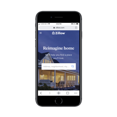 Zillow homepage on mobile