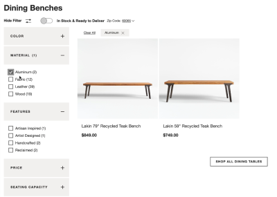 No layout shifts in sight on Crate & Barrel. A very calm experience, with filter area that can be hidden if not needed.