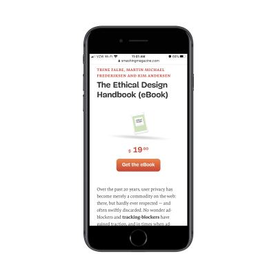 """The Ethical Design Handbook landing page with """"Get the eBook"""" for $19.00 CTA"""