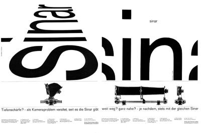 dvertisements for Sinar, by Karl Gerstner
