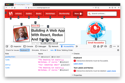 Advanced accessibility tooling in Firefox, with accessibility checks and recommendations.