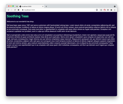 Picture of the work-in-progress website. The page background is now a dark blue color, and the headline 'Soothing Teas' is green. The website has no layout/spacing and so extends to the width of the browser window completely.