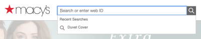 The search bar on the Macy's website