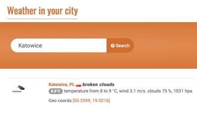 Open Weather Map API widget