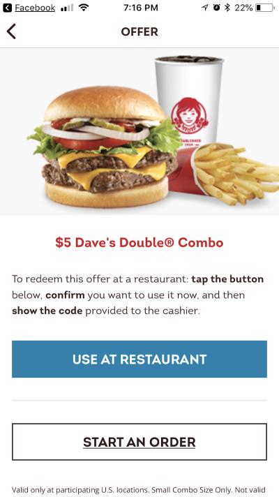 Wendy's in-restaurant offers