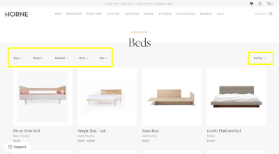 Horne e-commerce website design with filters and sorting for internal navigation
