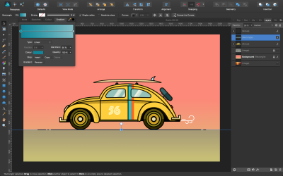 Gradient for the ground piece and the grouped car layers for a clean view in the Layers panel.