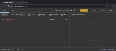 A screenshot of the Wallaby.js demo app project previewed in the browser