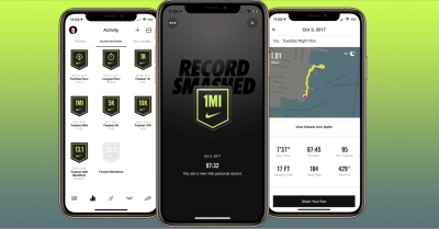 An image of the Nike app displaying a user's achievements as a way to motivate continued use and exercise