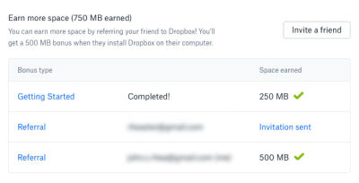 Dropbox offers an additional 250 MB of space for every friend you get to join their service.
