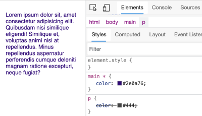 Dev tools shows that the rule for main is applied instead of for p for the selected paragraph, making it a navy blue instead of gray.
