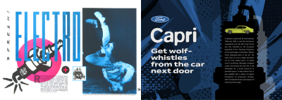 Left: Electro. The Face 1984. Right: For this main headline I used FF Blur Pro Medium, a typeface designed by Brody in 1992.