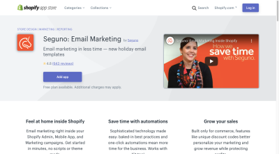 The Shopify app page for Seguno: Email Marketing includes an eye-catching video to promote it