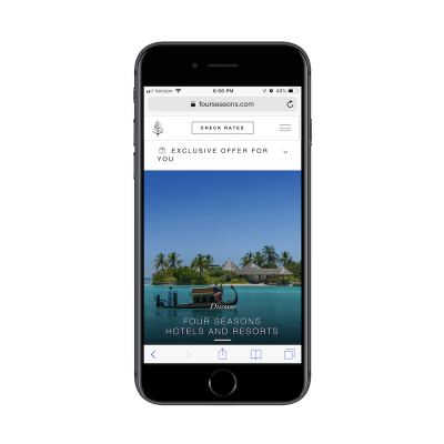 Interactive pop-up on mobile Four Seasons