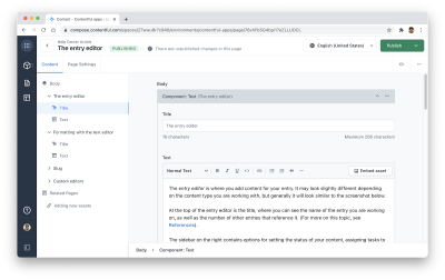 Updating content with the entry editor on Contentful