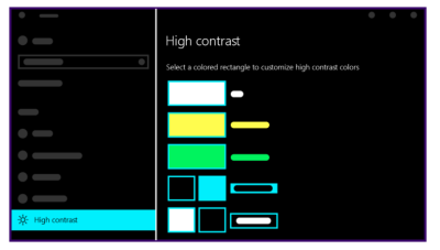 An image from Microsoft showing how high contrast colors shift for white, yellow, green, and blue