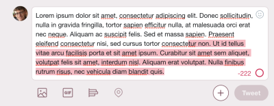 A screenshot from Twitter showing their textarea with overtyped text with a red background.