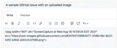 """Screenshot of a new GitHub issue. The title reads, """"A sample GitHub issue with an uploaded image. The body is an image element with an alt attribute that reads, """"ScreenCapture at Wed Aug 18 15:59:24 EDT 2021."""""""