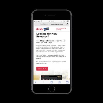Blockbuster website on mobile