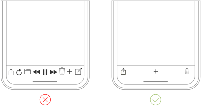 The clear tab bar (right) is much better than the cluttered one (left).