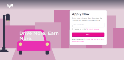 Lyft makes the most important information on a page (the call-to-action button) stand out.