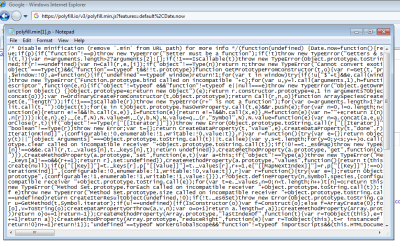 Screenshot of response from polyfill.io service for IE8