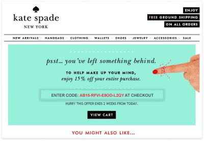 an example of Kate Spade's notification