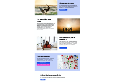 A page made up of different variations of the text-and-media component