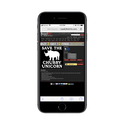 RoadKill T-Shirts not responsive on mobile