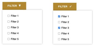 When one or more checkboxes in the filter dropdown are checked, the button changes the icon to indicate the active filter state in the group.
