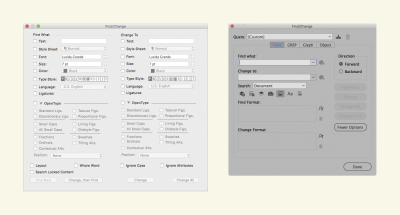 A software dialog box on the left from Quark showing its Find/Change window. On the right is Adobe InDesign's software dialog Find/Change window.