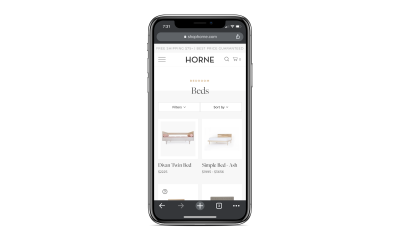 Horne includes a search bar, filters and sorting options on mobile site for easy inventory navigation